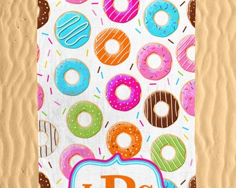 Donuts Personalized Beach Towel - Colorful Monogram Sprinkles n Donut Printed 30x60 Beach Towel