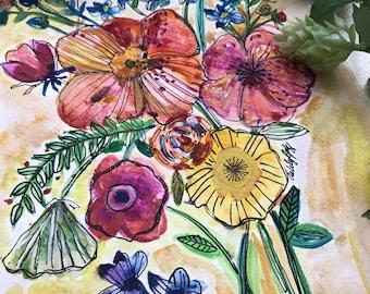 Multimedia vibrant bouquet print