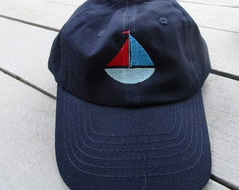 Childs Embroidered Sailboat Hat with Optional Personalization