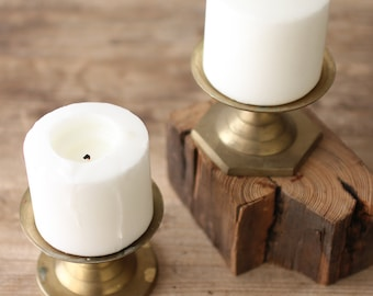 Set of Two Brass Pillar Candleholders