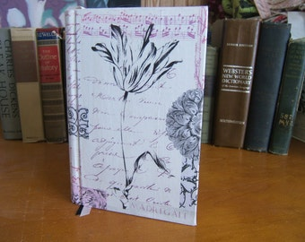 Thick Journal in a Floral Script Cover 394 Parchment Pages 3 Ribbon Bookmarks and a Handstitched Headband