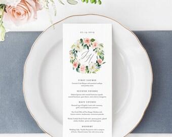 Menu Template, INSTANT DOWNLOAD, Printable Dinner Menu Card, 100% Editable, Vintage Floral Wreath, Boho Wedding, Monogram, DIY #043-124WM