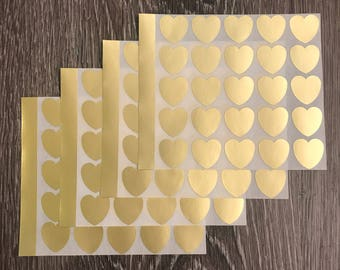 Gold Foil Heart Stickers | 100 Heart Stickers | Wedding Decoration | Scrapbooking Decoration | Heart Label
