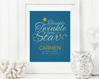 Twinkle Twinkle Nursery Art - Lullaby Baby Art - Personalized Nursery Decor - Custom Baby Art - Personal Baby Gift - Twinkle Wall Art Print