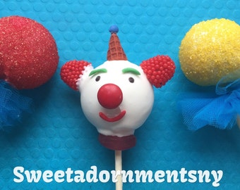 12 CLOWN Cake Pops , CIRCUS Birthday Party.