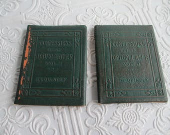 Confessions of an Opium Eater VOLUME I and II by Thomas DeQuincey - 2 Miniature Books Little Leather Library 1920s Antique Vintage