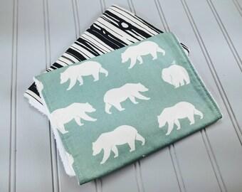 Polar Bear Burp Cloth Set   Burp Cloths   Burp Rags   Wood Grain Burp Cloth   Baby Gifts