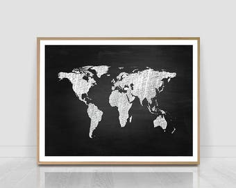 World map print etsy world map print world map world map wall art world map poster gumiabroncs Image collections