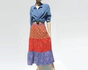 1970s Prairie Skirt Floral Midi Skirt Boho Festival Skirt Carole Cohn Skirt India Cotton Skirt Hippie Calico Skirt Blue Floral Red Floral m