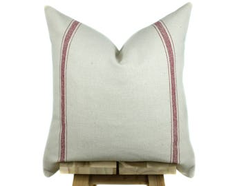 Grain Sack Pillow Cover | Modern Farmhouse Collection | Red Stripe