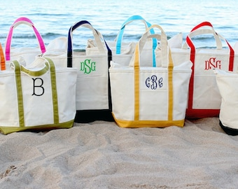 3 Sizes to choose Canvas Zipper Personalized Boat Tote Monogrammed Tote Bags Teacher Gifts, Bridal Party Gifts, Bridesmaid Gifts Boat Tote