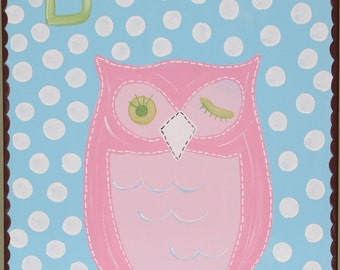 Brooke Pink Owl original 16x20 painting