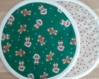 Gingerbread Cookie Potholders, Hot Pads, Mats, 8 inch, Round, Christmas