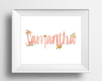 Custom Handlettering Name, Baby Girl Name, Girl Bedroom Decor, Fine Wall Art Poster Print, Personalized Name, Nursery, Flower Leaves