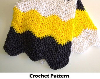 Easy crochet blanket pattern, crochet baby blanket pattern, chevron blanket pattern, crochet chevron blanket, bumblebee blanket pattern