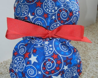 Fold Up Ponytail Surgical Scrub Hat with Patriotic Stars and Swirls
