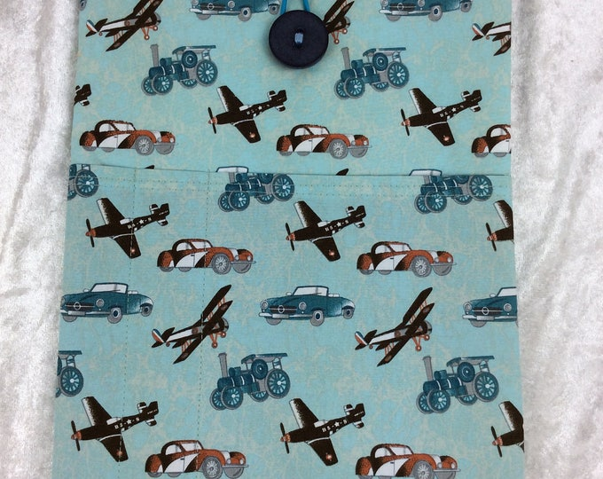 Handmade Tablet Case Cover Pouch iPad/Kindle LARGE Vintage Aircraft Aeroplanes Steam Engines