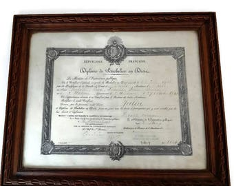 antique french framed law diploma 1913, Paris, collectible vintage diploma