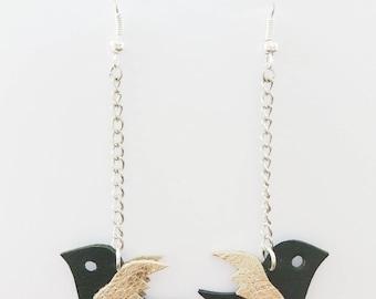 Black leather - handmade green swallow earrings