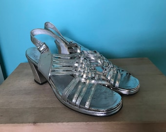 Vintage Thom McAn Silver Strapped Heels