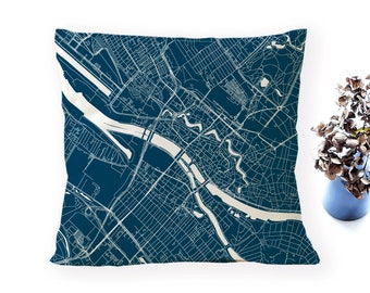 BREMEN Map, Throw pillow for your home decor,  Map of BREMEN Cushion Cover, Custom Wedding Pillow Cover, anniversary gift