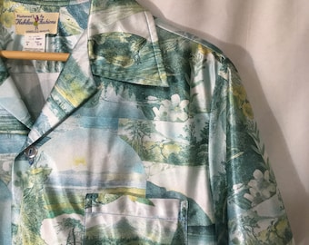 70's M Green/White Hukilau Fashions Honolulu Polyester Short Sleeve Button Down Shirt