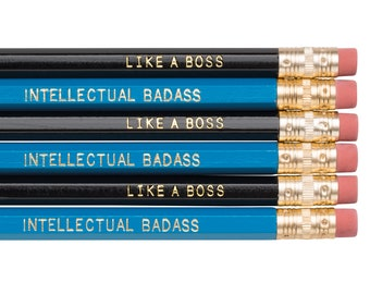 Like a Boss AND Intellectual Badass pencils. Funny pencil set. Gifts for grads. Back to school supplies. Snarky pencils. Mixed pencil set.