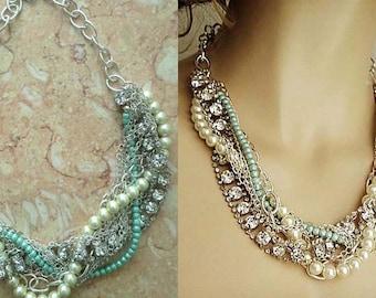 Bridal Necklace, Turquoise Pearl Wedding Rhinestone Statement Necklace, Wedding Jewelry, Bridesmaids Necklace, Pearl Chunky Necklace, Gift