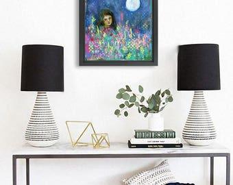 Original mixed media | modern nature flower art | Moon Child | collage art | blue home decor