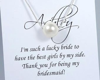 Simple Pearl Necklace, Swarovski Necklace, Floating Pearl Necklace, Bridesmaid Necklace, Bridesmaid Gift, Wedding Necklace, Pearl Necklace