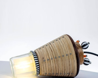LED Lamp 'Mercury'. A space inspired lamp, made with recycled plywood, an upcycled glass jar & an LED bulb.