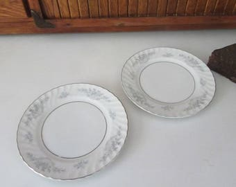 Mikasa Clarion Bread & Butter Plates - Set of 2 Plates - Blue Roses in Baskets - Mikasa Pattern 512 - Vintage Fine China