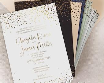Wedding invitations etsy dk personalised gold foil confetti elegant wedding invitation foil pressed calligraphy wedding card thick board stopboris Choice Image