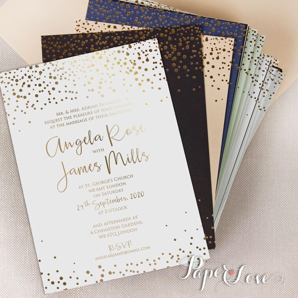 personalised gold foil confetti elegant wedding invitation