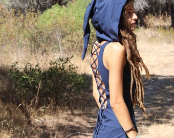 Fairy dress with lace and hood, Pixie/fairy clothing, Blue, white, grey, black, Enchanted, Unique, festival, boho, gypsy, forest