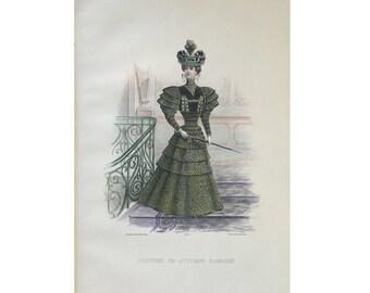 ANTIQUE FRENCH FASHION lithograph - original antique print - fashion illustration design fashion designer - green ottoman clothing