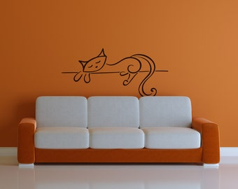 Lounging Cat Wall Decal | cat lady cat lover cat wall decals crazy cat lady cat decor sleeping cat art cat wall art cat lover gift cat art