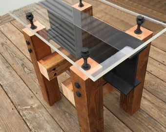 Industrial Side Table/ Coffee Table/ Modern Wood Side Table/ Industrial Furniture