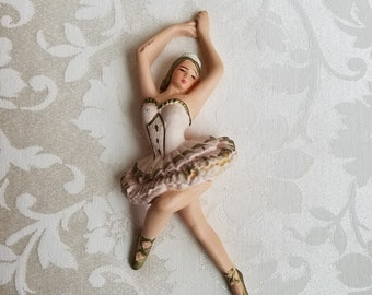 Vintage Chalkware Ballerina Wall Art Plaque, Mid Century Ballet Dancer In Pale Pink Tutu