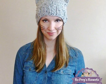 Hand Knit Cat Ear Hat in Grey Marble, Cat Beanie, Women's Knit Hat, Knitted Cat Hat, Winter Fashion Accessories, Cat Ears Beanie, Chunky Hat