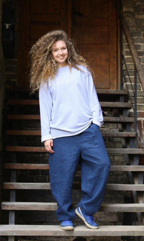 Linen Man Music Harem Pants Clothing Meditation Festival Pants pants Yoga Summer Pants Loose Pants Woman Deep Pants Blue light S0wqax5