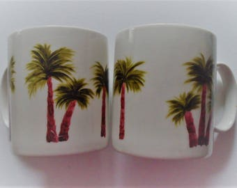 Palm Tree Cups Palm Trees Palm Tree Mugs Palm Tree Coffee Cups Palm Tree Coffee Mugs Hand Painted Cups Set of 2