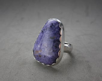 Charoite Sterling Silver Ring, size 8