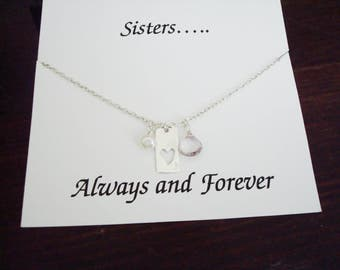 Cut Out Heart Tag with White Pearl and Pink Amethyst Silver Necklace ~~Personalized Jewelry Gift Card for Sister, Best Friend, Bridal Party