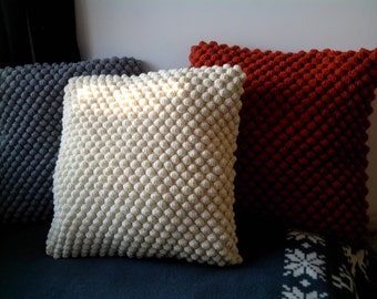 Crochet White/Grey/Orange Pillows / Knit Wool Cushion / Crochet Decorative Pillows
