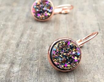 Rose Gold Druzy earrings, Faux Druzy earrings, drusy,  rose gold, rose gold druzy,  Boho