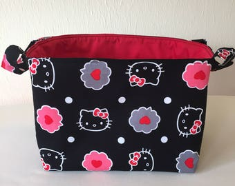 Hello Kitty, Fabric Bin, Fabric Organizer, Fabric Basket, Toy Organizer, Home Decor, Nursery Decor, Black and Red