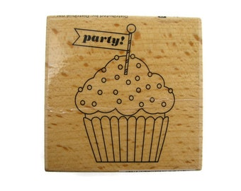 Cupcake Rubber Stamp | Party Stamp | Sweets Stamp | Stationery Stamp | Invitation Stamp | Party Rubber Stamp | Sweets Rubber Stamp | Cupcake