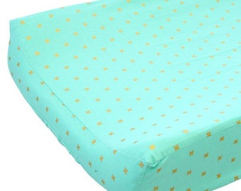 15% OFF SALE - Teagan's Teal Changing Pad Cover | Gold and Teal Baby Nursery