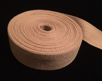 """Tan/Beige Twill Tape, 100% Cotton Twill Tape, 3/4"""" Wide, 6 yards and 15 inches"""